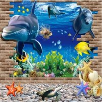 angels wall stickers - Dolphins D wall stickers living room sofa background wall stickers creative stickers decorative bedroom three dimensional ocean water