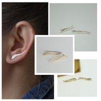 Wholesale 1 Pair Women Vines Sweep Wrap Climber Leaf Design Stud Earring Gold Silver Plated Fashion Jewelry for Girl Gifts