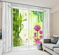 bamboo reflection - 2016 New Lucky Bamboo Lotus Water Reflection Blackout D Curtain Custom Children s Curtain for Living Room Kids A