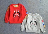 Wholesale 2016 Spring boys girls cotton sweater Cartoon shark letters terry camouflage round neck hedging baby clothing Children s jackets E329