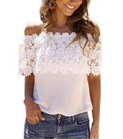 Cheap Plus Size S-XXL Blusas 2016 Summer Style Women Sexy Tops Casual Off Shoulder Blouse Chiffon Lace Floral Blouse Solid Shirts