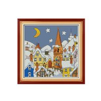 Cheap DIY Handmade Needlework Counted Cross Stitch Embroidery Kit Precise Printed Snowscape Pattern Cross-Stitching Home Decoration