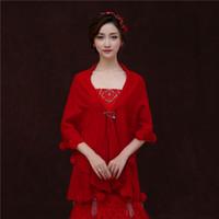ai coat - Ai zhi ban red New Winter Wool Bride Wedding Accessories Shawls Thickening White Half Sleeve Bride Jacket Bridal Coat Women