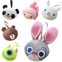 Wholesale Prettybaby cartoon animal zootopia model bath ball Pouf Sponge Bathing Spa Handle Body Shower Colorful Bath Brushes Pt0423