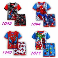Cheap Spiderman 2016 Summer Children Sleepwear Short Popular Cartoon Pajamas Boys Pyjamas 100% Cotton Clothing Set Kids Baby Clothe