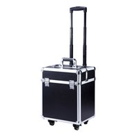 bar carrier - make up box color luggage carrier pu storage box with makeup bag trolley case draw bar box for professional lady makeup use