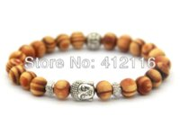 antique wood buddha - 2014 New Arrival Products mm Antique Silver Buddha Beaded Bracelets with Nice Wood Beads Jewelry bracelet pin removing tool
