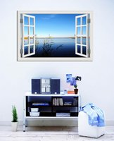 amazing windows - Amazing Sunny Lake and Blue Sky Scenery High Quality D Removable Wall Sticker Creative Window View Home Decor mural quot x28