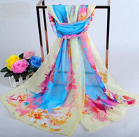 abstract scarf - New Arrival Summer Women Scarves Abstract Scrawl Floral Pattern Chiffon Scarf Wrap Many Colors Mixed