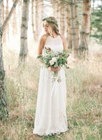 Wholesale On Sale Wedding Dress With Chiffon Empire Scoop Neck Sweep Train With Ruffle Zipper up Simple Beach Bridal Gowns DL