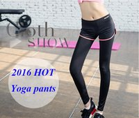Wholesale 2016 High Stretch Women Sports Leggings Outdoor Professional Running Pant Yoga Leggings Pants Gym Clothes Yoga Outfits