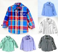 Wholesale 5pcs kids shirts quality brand tops PO boys shirt child clothes striped blouses long sleeves clothing