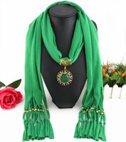 Wholesale Fashion Alloy Agate Jewelry Pendants scarf new hot diamonds Round Pendants Scarves Europe and the United States Women Scarves