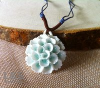 Wholesale Ceramic Necklace folk style porcelain ceramic flower pendant female long sweater chain of Jingdezhen ceramic jewelry