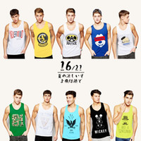 Wholesale Foreign trade new men s Vest fashion model in Europe and the United States to print the color movement vest BX101