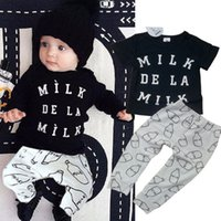 Wholesale 2016 Cute Infant Baby Boy Girls letter t Shirt milk Leggings Outfit Clothing Set Size