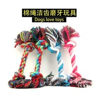 Wholesale Pet Dog Puppy Cotton Chew Knot Toy Durable Braided Bone Rope Freeshipping WJ0057