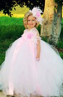 Wholesale Cute Ball Gown Flower Girls Dresses Spaghetti Straps beaded Feather Sash Tulle Floor Length Party Dresses for Birthday Festival Communion