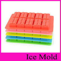 Wholesale creative silicone ice trays ice maker Lego type Muffin Sweet Candy Jelly fondant Cake chocolate Mold Ice Moulds Silicone Candy Molds
