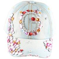 ab baseball - HOT Hot Sale Fashion Snapback Caps Colorful Big G Letter AB Crystal Denim Sun Baseball Hat Cap Women Handmake