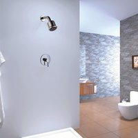 Wholesale PHASAT Silver Brass Top Gush Bathroom Shower Set In Wall Classic Shower Faucet Unit With Rainfall