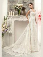 Wholesale Vintage Lace Wedding Dresses Bridal Gowns Cheap Cap Sleeves Beads Corset Back A Line Plus Size Sheath Illusion Back Wedding Gown Arabic