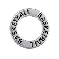 basketball charm necklace - Myshape Antique silver plated Affirmation charms Engravesd Letter BASKETBALL circle charms sports jewelry for bracelet necklaces