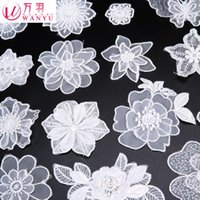 Wholesale Iron On Patches Parches Ropa Feather White Lace Patches Eugen Yarn Clothes Patch Clothing Decorative Applique Diy Repair