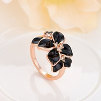 Wholesale 18K Rose Gold Platinum Plated Painting Black Flower Rings Use Austrian Crystal Women Jewelry Gifts