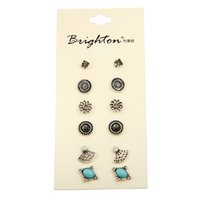 best value crystals - Hot selling Cute Earring Sets Super Value Pairs Set Round Square Ball Alloy Crystal Stud Earrings For Women Best Friend Gifts
