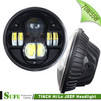 Wholesale 2PCS Round INCH W W CREE LED HEADLIGHT WITH HI LO BEAM REPLACEMENT KIT WITH FOG HEADLIGHT FOR TRUCK OFFROAD