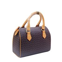 Wholesale Classic coated canvas Boston woman handbags Real leather strap spd tote Can add hot stamping DHL free Speedy Shipping