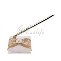 Wholesale White Wedding Pen Set with Burlap lace Ribbons Bow Flowers Pen and Pen Stand Pen Holder for Wedding Favors Party Decorations