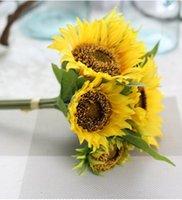 artificial sunflower bouquet - Yellow Wedding Flowers Bridal Bouquets Beach Bridal Bouquets Artificial Wedding Bouquets Silk Flowers Sunflowers Bouquet Fleur Mariage