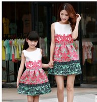 Wholesale 2016 Summer Antique Mother Daughter Dresses family look clothing mom and daughter dress Elegant babyprincess dress