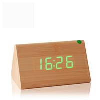 al por mayor relojes de alarma de la vendimia-Relojes de mesa decorativos Control de alarma de detección de la temperatura dual Display Reloj electrónico LED Reloj de madera Vintage Digital
