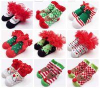 Unisex baby bow socks - 2016 Baby Socks New Born Christmas Gift Tulle Bow Lace Santa Holiday Birthday Gift for Infant Boys Girls Ruffle socks Months