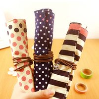 Wholesale New Lovely Pencils Case Portable Student Stationery Storage Pencil Bag School Office Supplies Canvas Roll Fashion Gifts