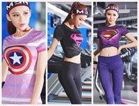america ladies clothing - Captain America Superman Yoga doublet Lady Woman hero sports Fitness Gym T shirt clothing tight fitting short sleeved LJJO85