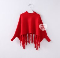 batwing jumper black - Christmas Baby Girls Knit Tassel Sweaters Kids Girls Knitting Batwing Sleeve Jumper Pullover Babies Autumn Winter Fashion Clothes