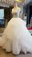 bead nail applique - The new shoulders gauze skirt layers under the chest PaiHua nail bead strong tail wedding dress Sexy and generous style restoring anci