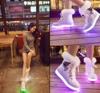 animal floor lamps - NEW flat casual shoes woman Luminous LED light shoe fluorescent lamp LED colorful snow boots rabbit hair USB charging