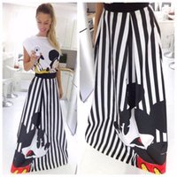 Wholesale Mickey Printed Long Striped Skirts Female Skirt High Waist Mouse Pattern Print Cute Black Vintage Long Skirts Women Maxi Skirt
