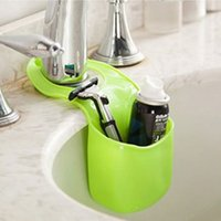 Wholesale 2016 New Sponge Storage Box Plastic Soft and Durable Creative Hanging Box Organizer Home Kitchen Bathroom Gadget Easy to Install