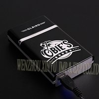 american electronics - Firedog Cigarette Case Holder Built in Flameless Electronic Rechargeable USB Lighter freeshipping
