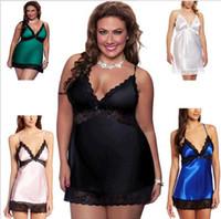 Wholesale Ladies Sexy Silk Satin Night Dress Sleeveless lace Nighties V neck Nightgown Plus Size Nightdress Lace Sleepwear Nightwear For Women XL XL