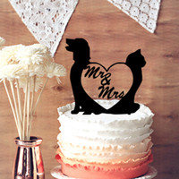 Wholesale Funny Cake Topper Unique Topper Dog and Cat with Mr and Mrs Silhouette Wedding Cake Topper Wedding Anniversary Cake Topper