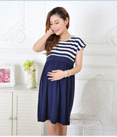 Wholesale New Women Long Maternity Dresses for Pregnant Women Loose Clothing Maternity Fashion Stripe Home Cotton Mother Clothes Navy Blue