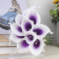 Урожай Искусственные цветы 10 частей / серия Мини-фиолетовый в белый Калла Букеты для невесты Свадебный букет Украшение Фиктивный цветок