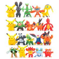 Wholesale 100pcs cm POKEM Pocket Monster Pikachu Squirtle Charmander Bulbasaur PVC Action Figures Mini Cartoon Children DIY Toys